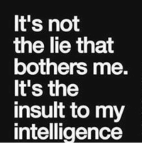 💯: It's not  the lie that  bothers me.  It's the  insult to my  intelligence 💯