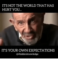 Memes, True, and World: IT'S NOT THE WORLD THAT HAS  HURT YOU  IT'S YOUR OWN EXPECTATIONS  @4biddenknowledge RIP TO A TRUE HUMANITARIAN AND VISIONARY. Jacques Fresco was a hero. The @thevenusproject will become a reality. Its not the world that has hurt you, its your own expectations 4biddenknowledge jacquesfresco