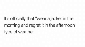 "Memes, Regret, and Weather: It's officially that ""wear a jacket in the  morning and regret it in the afternoon""  type of weather 😂😂😂😂"