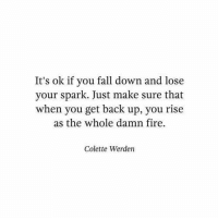 fall down: It's ok if you fall down and lose  your spark. Just make sure that  when you get back up, you rise  as the whole damn fire,  Colette Werden