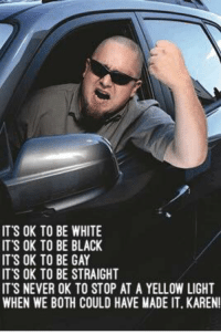 Dank, Black, and White: ITS OK TO BE WHITE  IT'S OK TO BE BLACK  ITS OK TO BE GAY  IT'S OK TO BE STRAIGHT  IT S NEVER OK TO STOP AT A YELLOW LIGHT  WHEN WE BOTH COULD HAVE MADE IT. KAREN