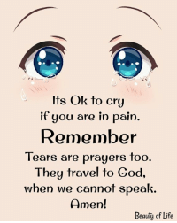 God, Life, and Memes: Its Ok to cry  it gou are in pain.  Remember  Tears are prayers too.  They travel to God,  when we cannot speak.  Amen!  Beauty of Life