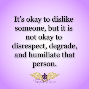 Memes, Okay, and 🤖: It's okay to dislike  someone, but it is  not okay to  disrespect, degrade,  and humiliate that  person  THE  Purple'Stower <3