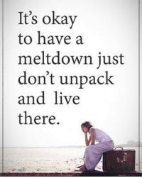 Memes, Live, and Okay: It's okay  to have a  meltdown just  don't unpack  and live  there It's okay to have a meltdown just don't unpack and live there. positiveenergyplus