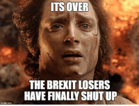 Finally, they accept DEMOCRACY.: ITS OVER  THE BREXIT LOSERS  HAVE FINALLY SHUT UP  ingflip.com Finally, they accept DEMOCRACY.