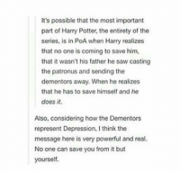 Memes, 🤖, and Potter: It's possible that the most important  part of Harry Potter, the entirety of the  series, is in PoA when Harry realizes  that no one is coming to save him,  that it wasn't his father he saw casting  the patronus and sending the  dementors away. When he realizes  that he has to save himself and he  does it.  Also, considering how the Dementors  represent Depression, I think the  message here is very powerful and real.  No one can save you from it but  yourself.