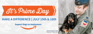 Dogs, Memes, and Tiffany: It's Prime Day  MAKE A DIFFERENCE JULY 15th & 16th  e  Support Dogs on Deployment  2019 DOD MASCOT, ELMER  Photo by Tiffany Ellis Watch this Reunion Video for Prime Day! - https://mailchi.mp/dogsondeployment/watch-this-reunion-video-for-prime-day Make sure to #SUBSCRIBE to our newsletters!