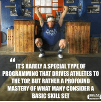 Adidas, Gym, and Memes: ITS RARELY ASPECIALTYPEOF  PROGRAMMING THAT DRIVES ATHLETES TO  THE TOP BUT RATHER A PROFOUND  MASTERY OF WHAT MANY CONSIDER A  BASICSKILLSET  5GUAT The best athletes in the world don't succeed due to special training programs, high tech recovery methods or even pricy supplements. They reach the top by focusing on perfecting the little things. Mastering the most basic skill sets (perfecting barbell technique for example) gives you a firm foundation from which you can excel athletically🏋🏽 . The athlete shown above is Olympian @olychad of @vaughn_weightlifting. He is a great example of what happens when you embody today's message. Make sure you give him a follow ✅ _________________________________ Squat University is the ultimate guide to realizing the strength to which the body is capable of. The information within these pages are provided to empower you to become a master of your physical body. Through these teachings you will find what is required in order to rid yourself of pain, decrease risk for injury, and improve your strength and athletic performance. ________________________________ Squat SquatUniversity Powerlifting weightlifting crossfit training wod workout gym exercisescience fit fitfam fitness fitspo oly olympicweightlifting hookgrip nike adidas lift mobility quotes instaquote motivation motivationmonday motivated crossfitter quotestoliveby