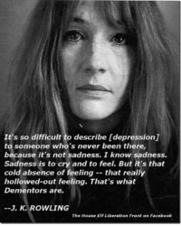 💔💔💔  ~ The Girl On Fire: It's so difficult to describe [depression]  to someone who's never been there  because it's not sadness. I know sadness.  sadness is to cry and to feel. But it's that  cold absence of feeling that really  hollowed-out feeling. That's what  Dementors are.  K. ROWLING  The House Elf Liberation Front on Facebook 💔💔💔  ~ The Girl On Fire