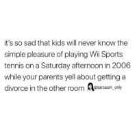 Funny, Memes, and Parents: it's so sad that kids will never know the  simple pleasure of playing Wii Sports  tennis on a Saturday afternoon in 2006  while your parents yell about getting a  divorce in the other room sarcasm only SarcasmOnly