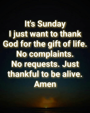 Alive, God, and Life: It's Sunday  l just want to thank  God for the gift of life.  No complaints.  No requests. Just  thankful to be alive.  Amen