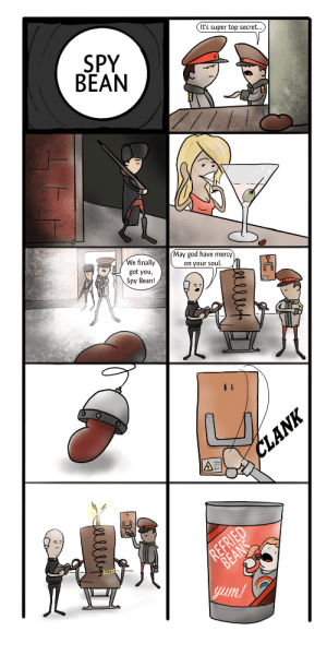 God, Text, and Wife: It's super top secret..  SPY  BEAN  0  May god have mercy  on your soul.  We finally  got you,  Spy Bean!  0  yum [OC] My wifes text got autocorrected to spy bean rather than 'soy bean so I made this comic to memorialize the occasion.