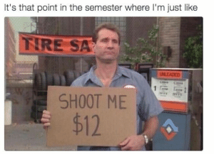 Tumblr, Http, and Com: It's that point in the semester where I'm just like  TIRE SAR  SHOOT ME  $12 Follow us @studentlifeproblems​