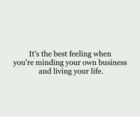 Minding Your Own Business: It's the best feeling when  you're minding your own business  and living your life.