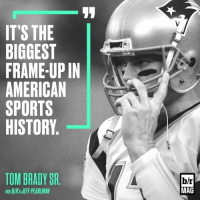 """Tom Brady is back from suspension, but his father still has words for """"habitual liar"""" Roger Goodell. BRmag [link in bio]: IT'S THE  BIGGEST  FRAME-UP IN  AMERICAN  SPORTS  HISTORY  TOM BRADY SR  via E/R'sJEFF PEARLMAN  b/r  MAG Tom Brady is back from suspension, but his father still has words for """"habitual liar"""" Roger Goodell. BRmag [link in bio]"""