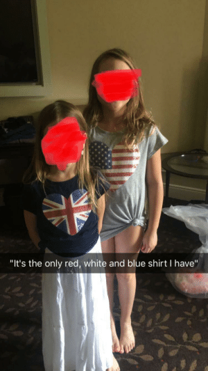 "4th of July, Blue, and White: ""It's the only red, white and blue shirt I have"" My little sister's outfit for 4th of July dinner."