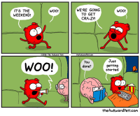 party time: ITS THE  WOO!  WEEKEND!  2016 The ALkward yeti  WOO!  WERE GOING  WOO!  TO GET  CRA-ZY!  theAkvardyeticom  Just  you  getting  done?  started.  theAwkwardyeti.com party time