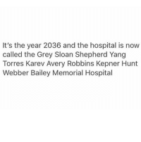 Memes, 🤖, and The Grey: It's the year 2036 and the hospital is now  called the Grey Sloan Shepherd Yang  Torres Karev Avery Robbins Kepner Hunt  Webber Bailey Memorial Hospital 🙃🙃🙃 GreysAnatomy