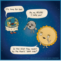 """Dark Side of the Moon, Memes, and Parents: It's time for bed.  No, no, NEVER!  I hate you  Is this what they meant  by the Moon's """"dark side?  UNEARTHEDcoMICs.coM 2015 QSARA ZIMMERMAN The true Dark Side of the Moon. (Parents: can you relate with your own kid's dark side?)"""
