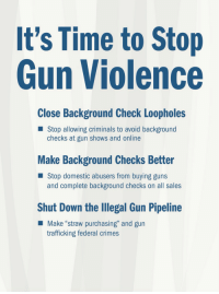 "Drugs, Guns, and Alcohol: It's Time to Stop  Gun Violence  Close Background Check Loopholes  Stop allowing criminals to avoid background  checks at gun shows and online  Make Background Checks Better  Stop domestic abusers from buying guns  and complete background checks on all sales  Shut Down the Illegal Gun Pipeline  Make ""straw purchasing"" and gurn  trafficking federal crimes <p>Oh my gosh, it all makes so much sense now! It's so simple! All we have to do is stop criminals from doing criminal things! Why hasn't anyone thought of this before?!? I'm going to ride off on my unicorn and tell my fairy princess all about these wonderful ideas. She lives in magical land where there are no illegal gun sales and also no drugs or alcohol because prohibition always works perfectly there in Fairyland.</p>"