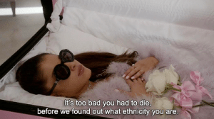 too bad: It's too bad you had to die  before we found out what ethnicity you are