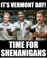 The Vermont Highway Patrol is on the case!: ITS VERMONT DAY!  BLAME  TIME FOR  SHENANIGANS The Vermont Highway Patrol is on the case!