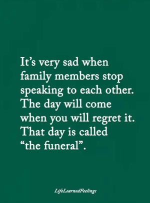 "Family, Memes, and Regret: It's very sad when  family members stop  speaking to each other.  The day will come  when you will regret it.  That day is called  ""the funeral"".  LifeLearnedFeelings <3"