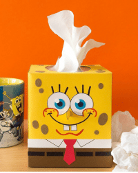Memes, A Spongebob, and 🤖: It's way more fun to beat winter sniffles with a SpongeBob tissue box! 💛 Learn how to make it on our NickParents website 👃