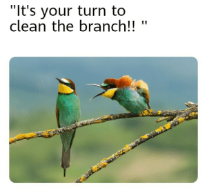 "Even birds: ""It's your turn to  clean the branch!!  II Even birds"