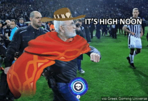 Club, Tumblr, and Blog: IT'SHIGH NOON  via Greek Gaming Universe laughoutloud-club:  For some reason, somehow, a greek coach brandished a revolver during a match