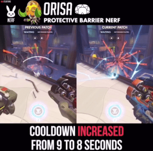 8 Seconds, Waiting..., and Engrish: ITSJIEYANG  ORISA  PROTECTIVE BARRIER NERF  NERF  CURRENT PATCH  PREVIOUS PATCH  NOT ENOuOH PLAYERS  WAITING  WAITING  NOT ENQUGH PLAYERS  21  900  8222227  COOLDOWN INCREASED  FROM 9 TO 8 SECONDS Nani!?