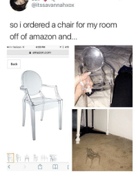 Amazon, Memes, and Verizon: @itssavannahxox  so i ordered a chair for my room  off of amazon and  ooo Verizon  4:39 PM  イ* 41%  숱 amazon.com  Back  >西卬 🤣Expectation vs reality