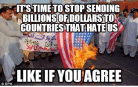 Memes, 🤖, and Epa: ITSTIME TOSTOP SENDING  BILLIONS!OF DOLLARST0%  COUNTRIES THAT HATEUS  LIKE IF YOU AGREE  © EPA