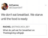 Dank, Food, and Thanksgiving: itsTyanna  @CooperGirlT  We don't eat breakfast. We starve  until the food is ready  RACHEL @STINGLIKEA_BEY  What do yall eat for breakfast on  Thanksgiving sdhgsjk