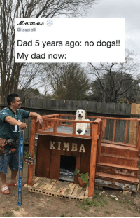 Dad, Dogs, and Tumblr: @itsyarelli  Dad 5 years ago: no dogs!!  My dad now:  KIMBA  WELCOME browsedankmemes:  All it takes is one visit to the pound… via /r/wholesomememes http://bit.ly/2SwBCX2