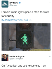 News, Traffic, and Com: ITV News  @itvnews  NEWS  Female traffic light signals a step-forwaro  for equality  tv.com/news/2017-03-0   Dani Carrington  @danicarrington  Can't you just pay us the same as men