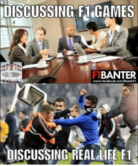 iUISCUSSING F1 GAMES  BANTER  F1 G  AME  MEMES  www.facebook.com/BanterFl  DISCUSSING REALLIFE F1  mematic Yep... 😂  #ChamF1B