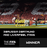"Fifa, Memes, and Borussia Dortmund: IUSTICE  ENA  22 RUSSIA DZRTMUND  AND LIVERP22L FIANS  THE FIFA  WINNER  FAN AWARD  EXIT RL The FIFA Fan Award has been awarded to the supporters of Liverpool and Borussia Dortmund for a spine-tingling rendition of ""You'll Never Walk Alone"" on the anniversary of the Hillsborough Disaster."