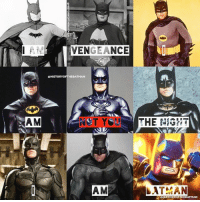 "Batman, Love, and Memes: IV  VENGEANCE  QHISTORYORTHEBATMAN  AM  AM  AM  AT AN  OHISTORYOFTHEBATMAN Good Knight Gothamites! I hope everyone is having a fun and safe 4thofJuly holiday tonight! Tomorrow we'll begin a brand new Batman history session! I leave you tonight with an account edit made for fun, of course each of these silver screen actors have given their own uniqueness in portraying the Dark Knight. The edit uses a now classic quote from Kevin Conroy's Batman in ""Batman: The Animated Series"" (Conroy is another Batman seen in theaters in the 1993 film ""Batman: Mask of the Phantasm"", my favorite!)! Who is your favorite Caped Crusader to grace the big screen over the last 7 decades? As always, thanks for following, have a great night and we will have more History of the Batman tomorrow. Remember Gothamites, it's all about Peace, Love and Batman! ✌🏼💙🦇🎬"