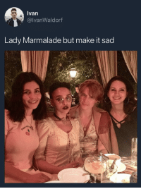 Tumblr, Blog, and Http: Ivan  @lvanWaldorf  Lady Marmalade but make it sad c-bassmeow:  Marina: lady marrerrrmalade Fka twigs: *cockroach legs tapping violently then softly on microphone* Florence: *yodeling helicopter noise to an orchestral backdrop* Lana: itchy baby doohdooh tata! Way-dee mah-mah-lahd ….on da Hollywood sign  *bwink* *bwink*