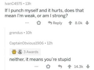 meirl: IvanC4975 13h  If I punch myself and it hurts, does that  mean I'm weak, or am I strong?  Reply  8.0k  grendus 10h  CaptainObvious1906 12h  S 3 Awards  neither, it means you're stupid  14.3k meirl