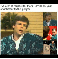 Memes, Respect, and Amazing: I've a lot of respect for Mark Hamill's 30 year  attachment to this jumper. This is amazing 😂 markhamill