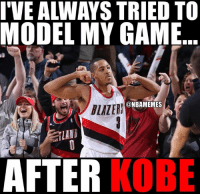 That explains a lot. #Blazers Nation #LakeShow: IVE ALLWAYS TRIED TO  MODEL MY GAME  @NBAMEMES  ILAN  KOBE  AFTER That explains a lot. #Blazers Nation #LakeShow