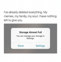 lol tru: I've already deleted everything. My  memes, my family, my soul. l have nothing  left to give you.  Storage Almost Full  You can manage your storage in  Settings.  Settings  Done lol tru