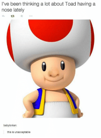 thinking: I've been thinking a lot about Toad having a  nose lately  babylonian  this is unacceptable