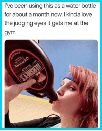 "Dank, Gym, and Love: I've been using this as a water bottle  for about a month now. I kinda love  the judging eyes it gets me at the  gym <p>I gotta do this&hellip;.or use a bottle of bourbon via /r/dank_meme <a href=""http://ift.tt/2DoTP5k"">http://ift.tt/2DoTP5k</a></p>"