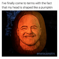 Funny, Halloween, and Head: I've finally come to terms with the fact  that my head is shaped like a pumpkin  amaniacpumpkins Happy Halloween from me and the geniuses over at @maniacpumpkins Thanks @chrissoria and @marcevan for making my Halloween dreams come true