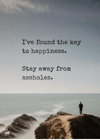 Quotes for You: I've found the key  to happiness.  Stay away from  assholes. Quotes for You