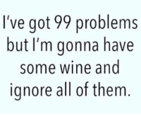 99 Problem: I've got 99 problems  but I'm gonna have  some wine and  ignore all of them