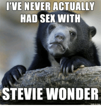 Sex, Sorry, and Stevie Wonder: I'VE NEVER ACTUALLY  HAD SEX WITH  STEVIE WONDER  made on imgur Im sorry ive been holding on to this lie for a while now